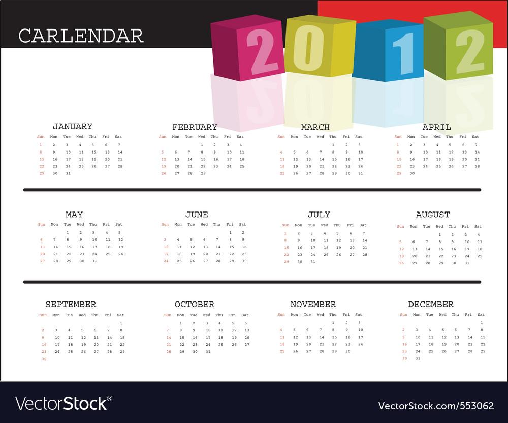 A calendar for 2012 desktop calendar or postcard