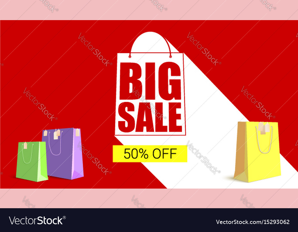 Big sale shopping bag silhouette with long shadow