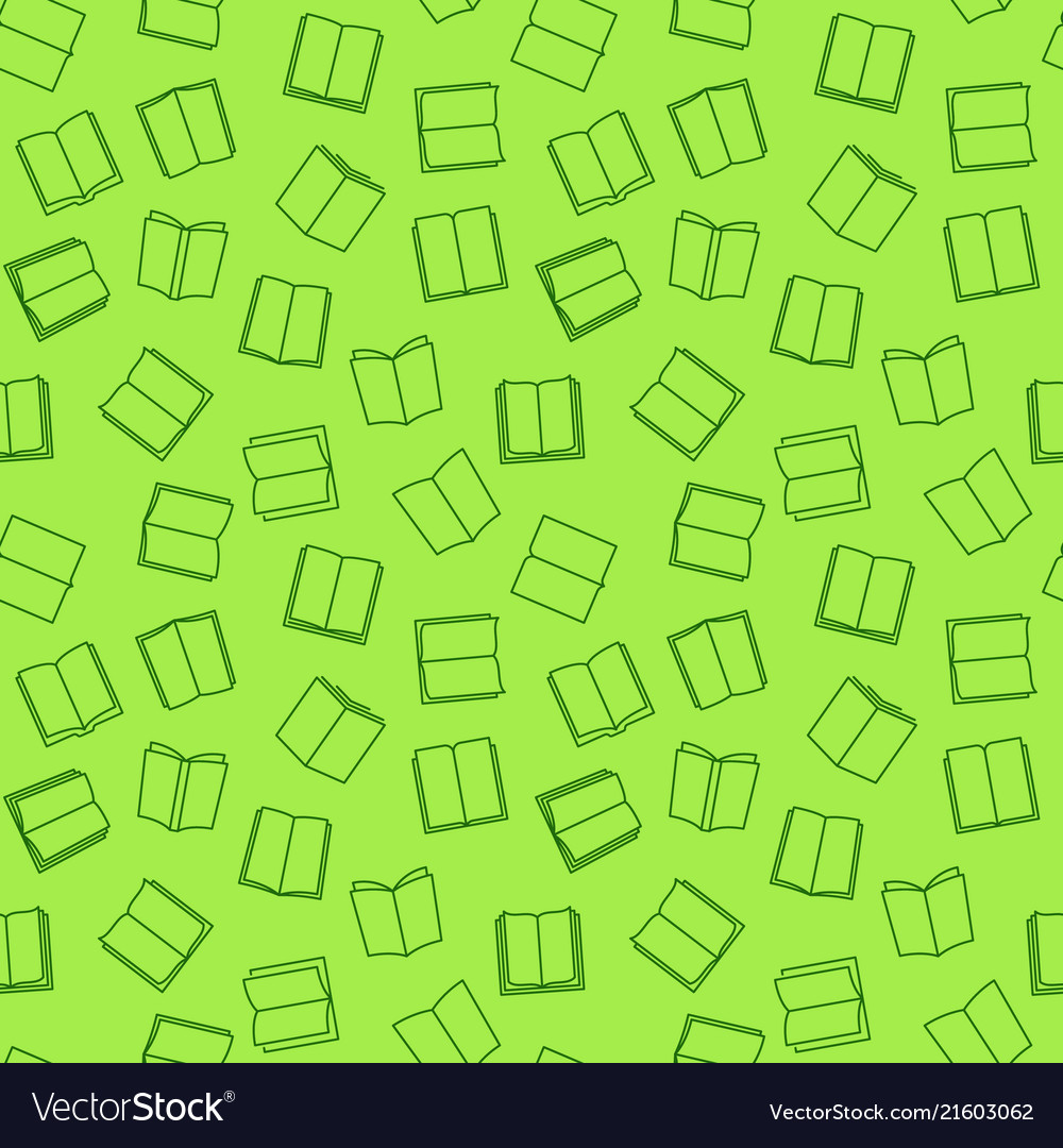 Book green seamless pattern in thin line