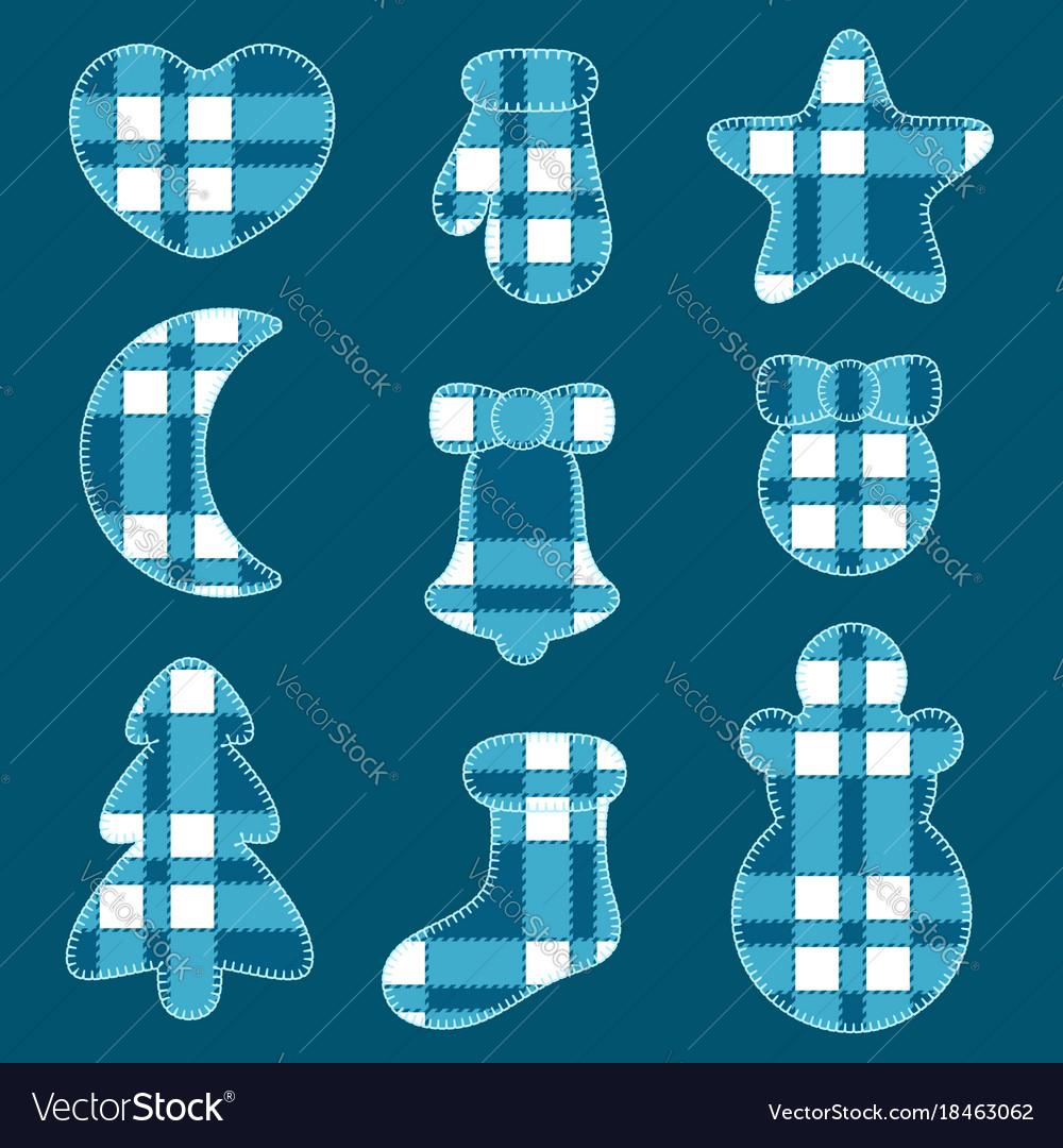 Christmas of felt toys of blue tartan fabric