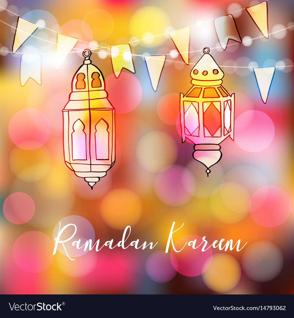 Colorful hand drawn arabic lanterns with lights