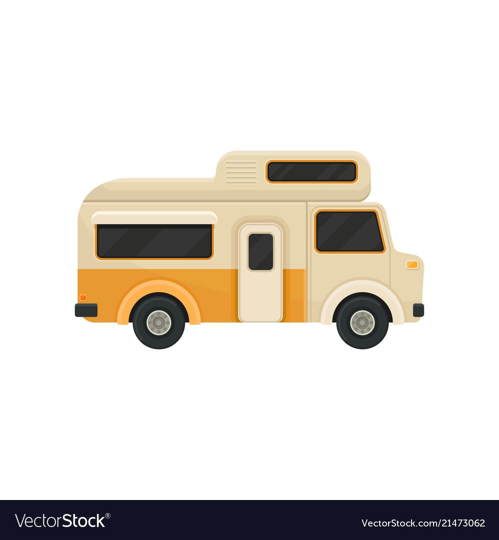 Flat icon of orange camper van trailer for