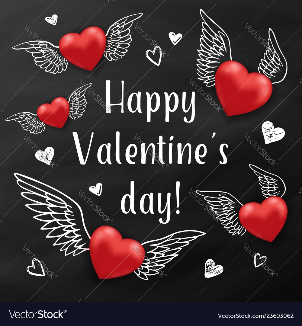 Flying red hearts on a black chalkboard