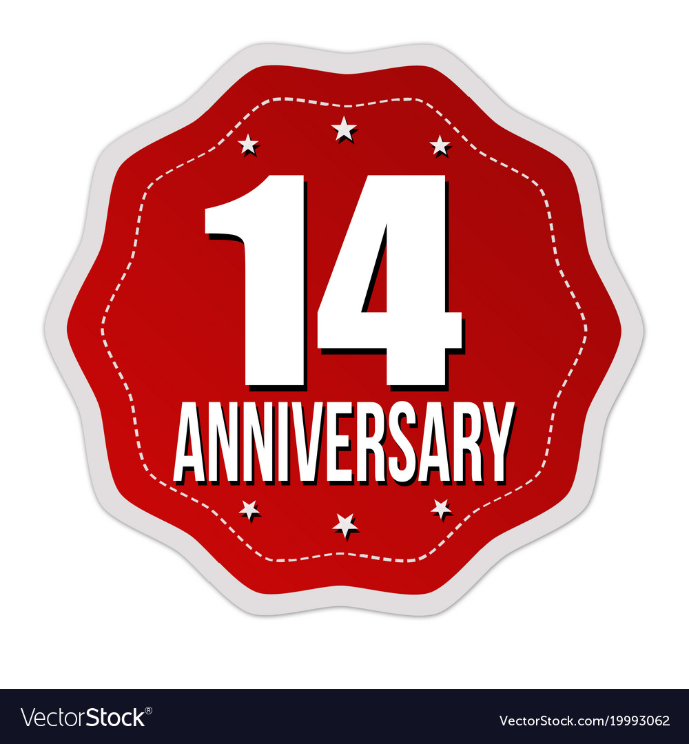 Fourteen years anniversary label or sticker vector image