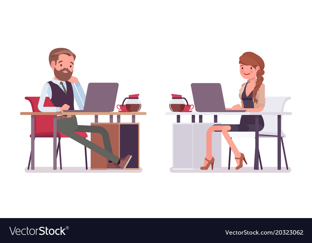 Handsome male and pretty female office employee