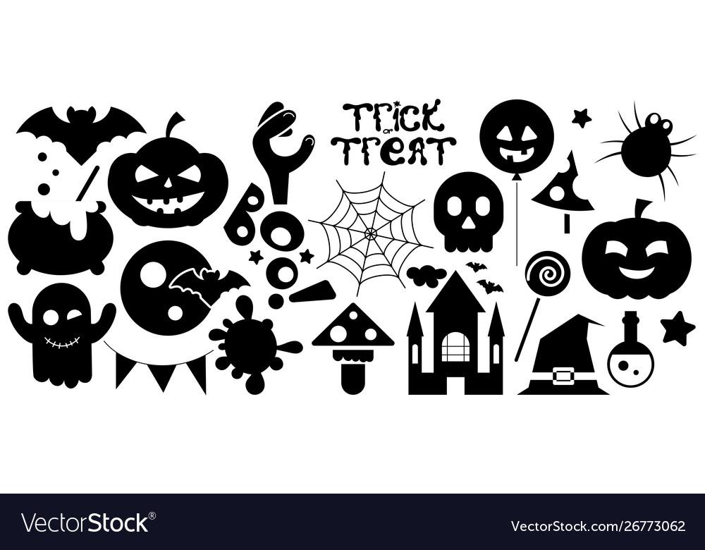 Happy halloween black icons set