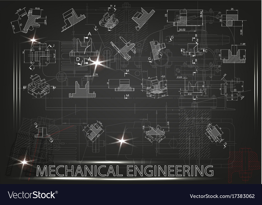 Machine-building drawings on a black background