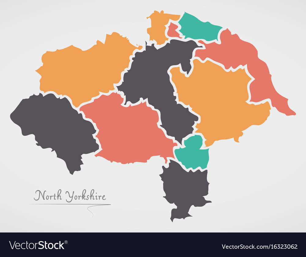North Yorkshire England Map With States And Vector Image