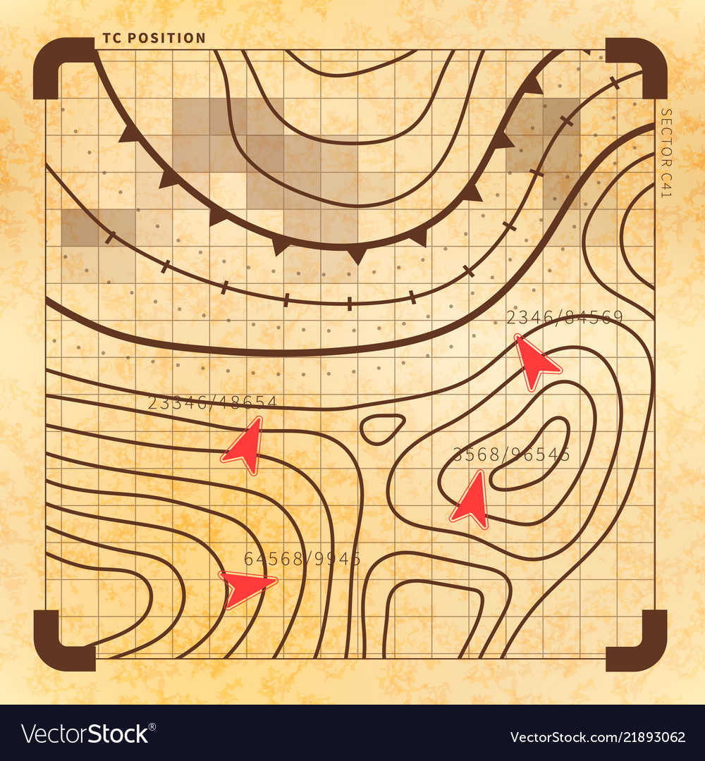 Retro battle plan with targets vintage map on old