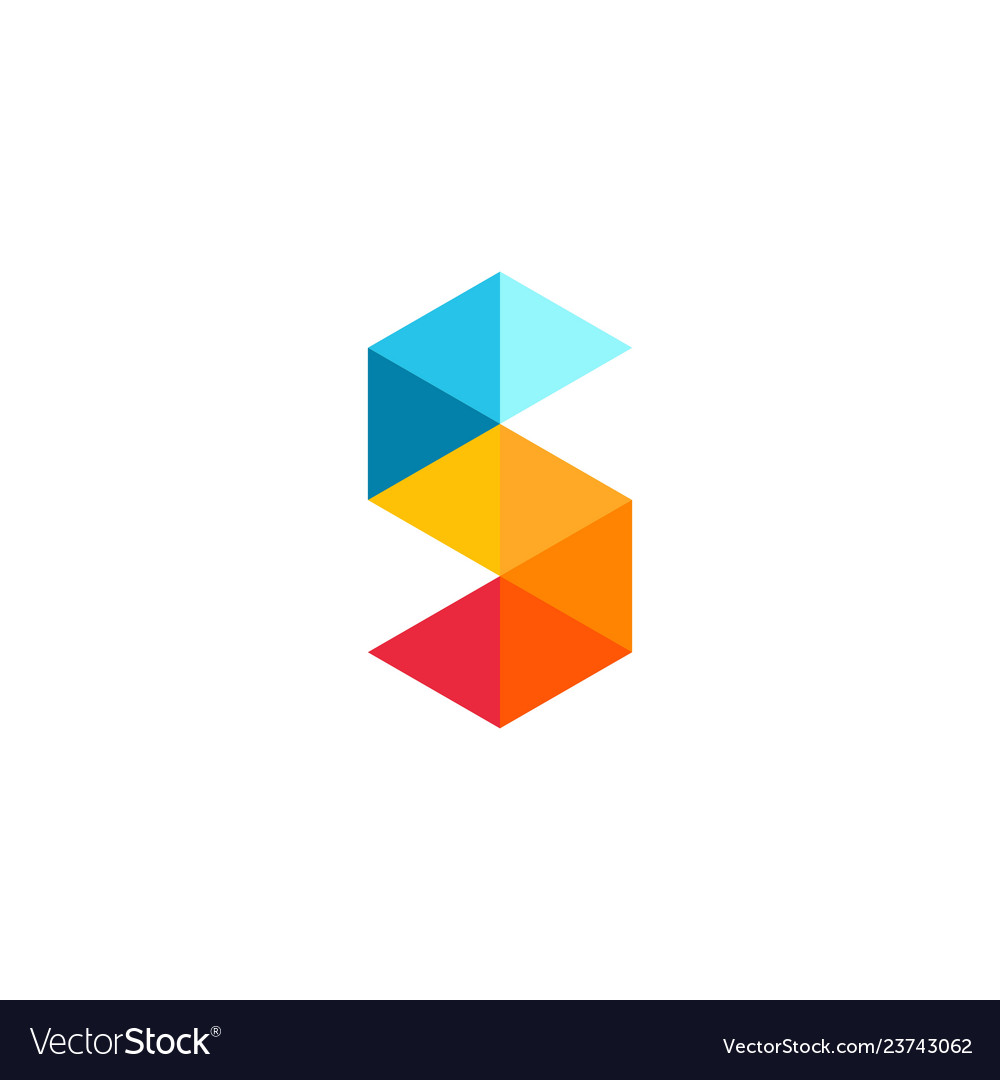 S letter logo triangle geometric icon
