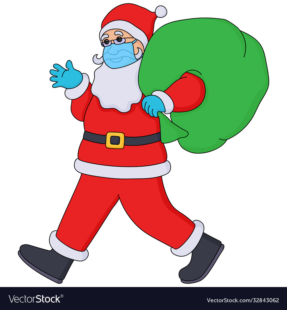 Santa claus in surgical mask and medical gloves