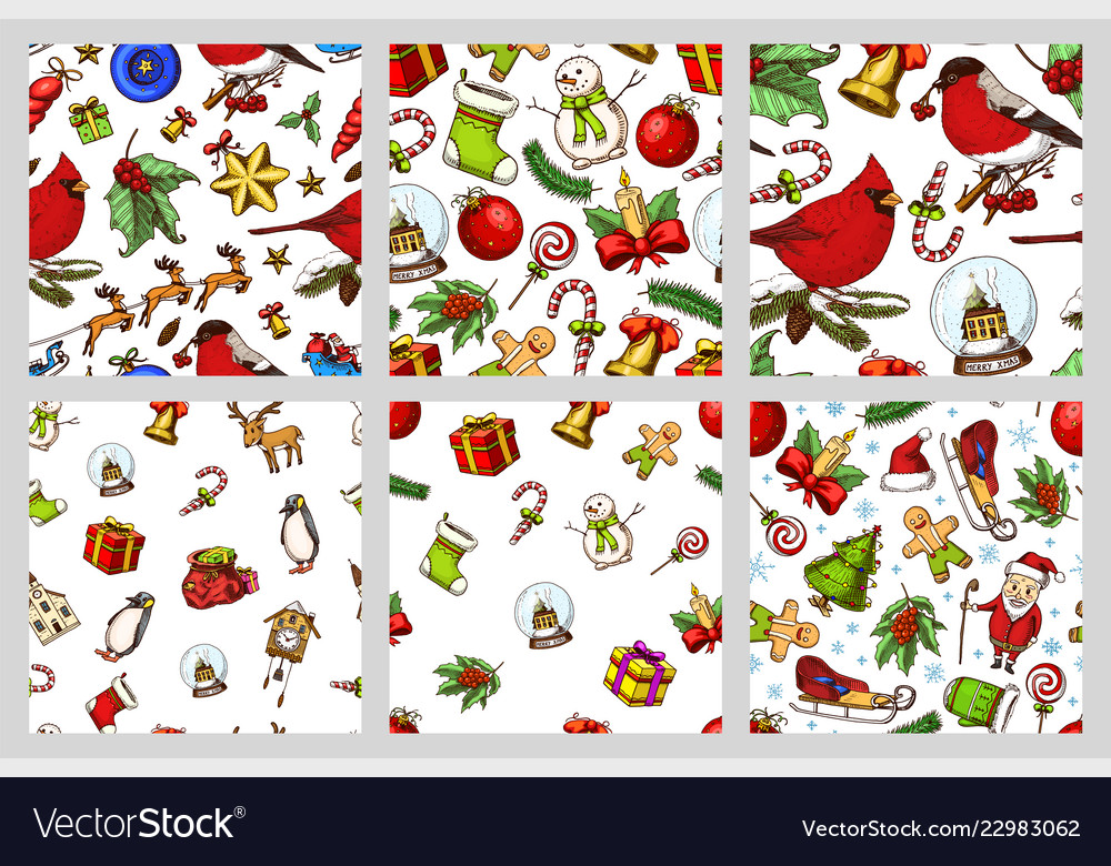 Set of merry christmas and new year seamless