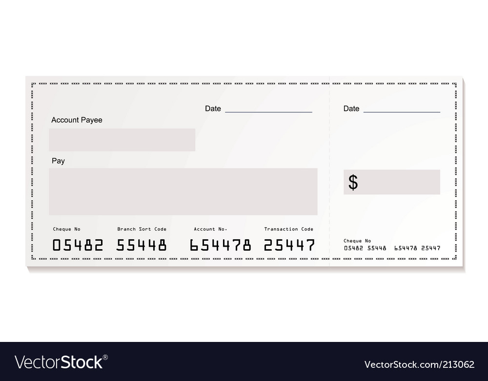 White dollar cheque