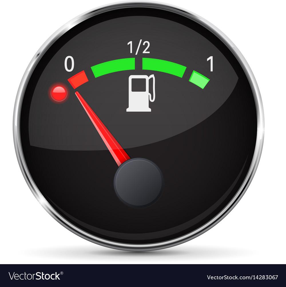 Black fuel gauge with chrome frame empty tank