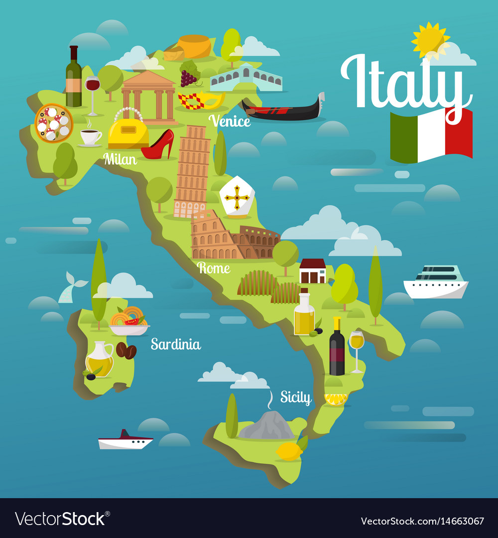 Pics Of Italy Map.Colorful Italy Travel Map With Attraction Symbols