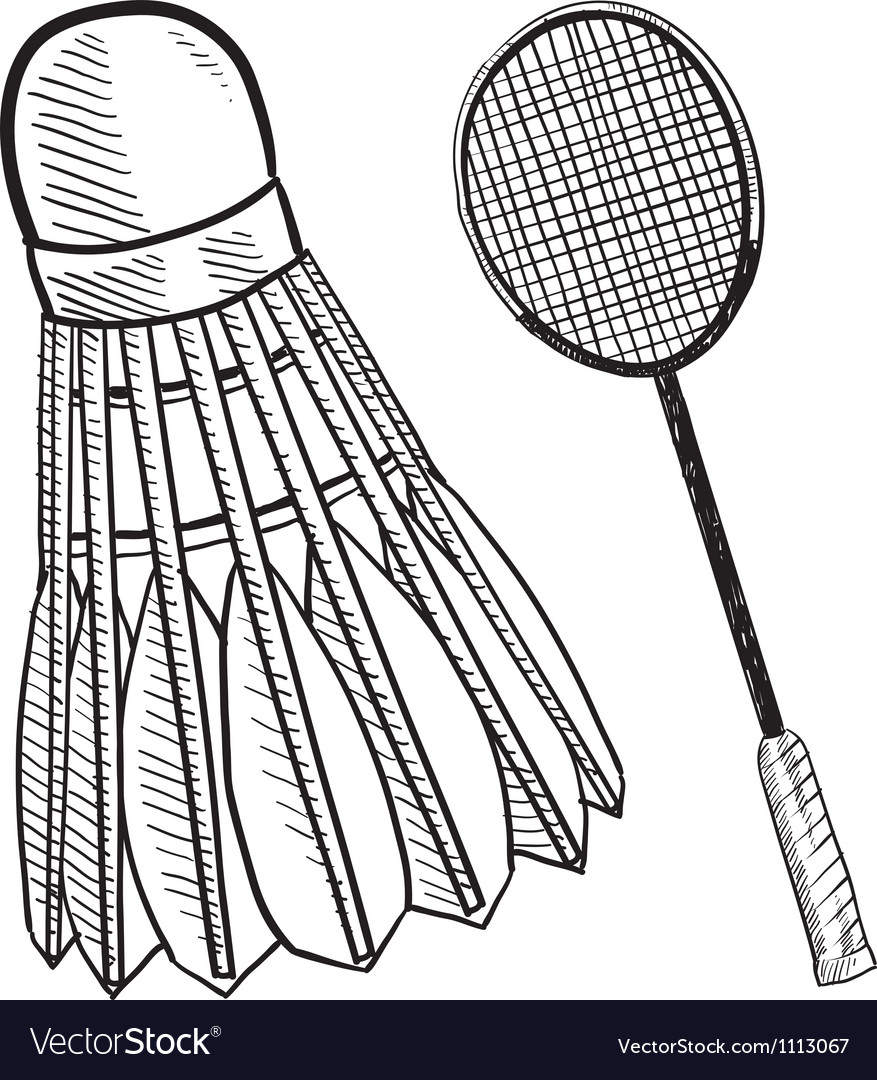 Doodle badminton racket shuttlecock vector image