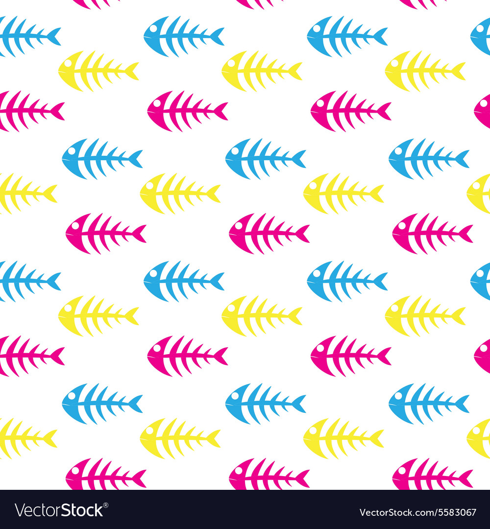 Fishbone seamless patternskeleton of fish