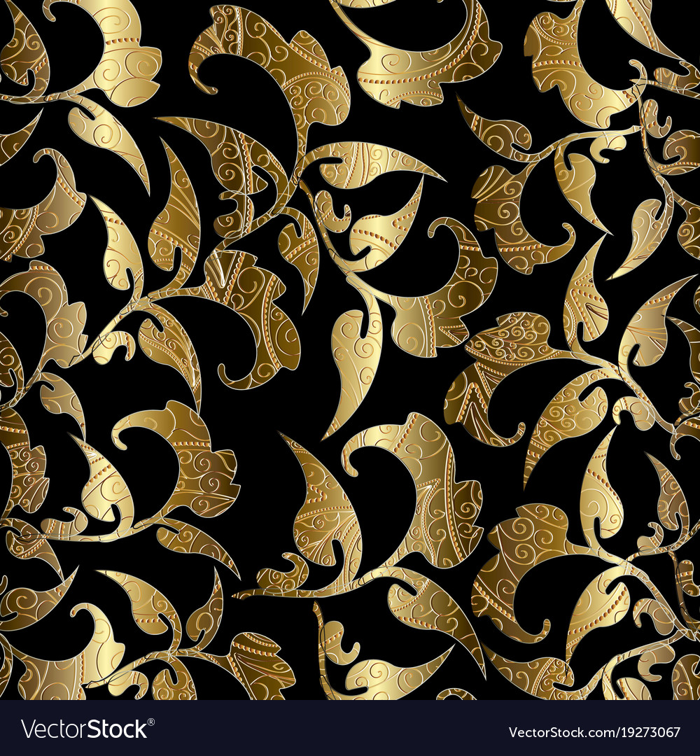 Floral Black Gold Seamless Pattern Foliage Vector Image