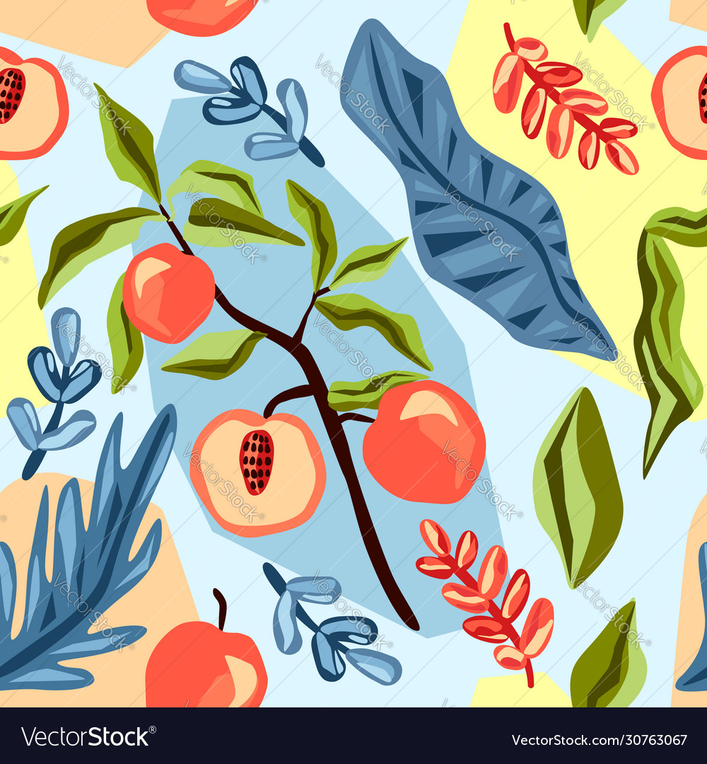 Fruit seamless pattern summer background vector
