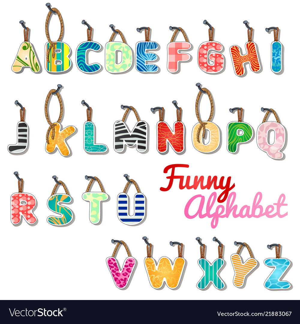 Funny set letters english alphabet