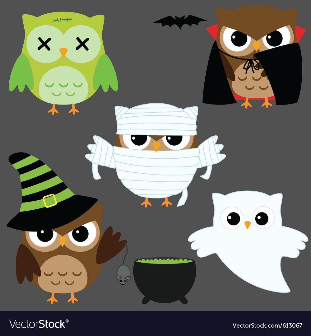 Halloween owls vector image