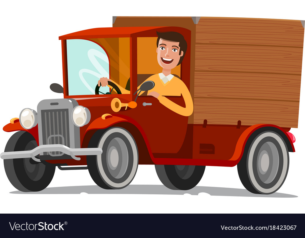 Happy driver rides on retro truck delivery