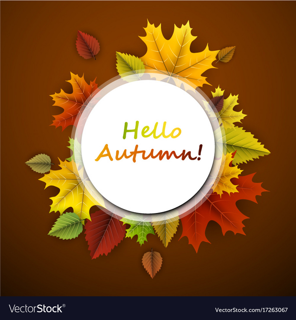 Hello autumn card with colorful leaves