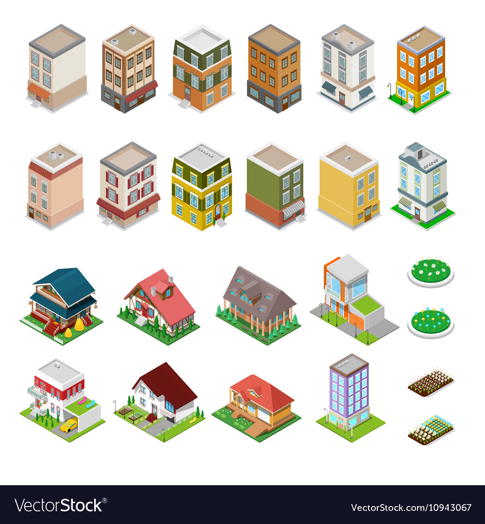 Isometric City Buildings Houses and Cottages