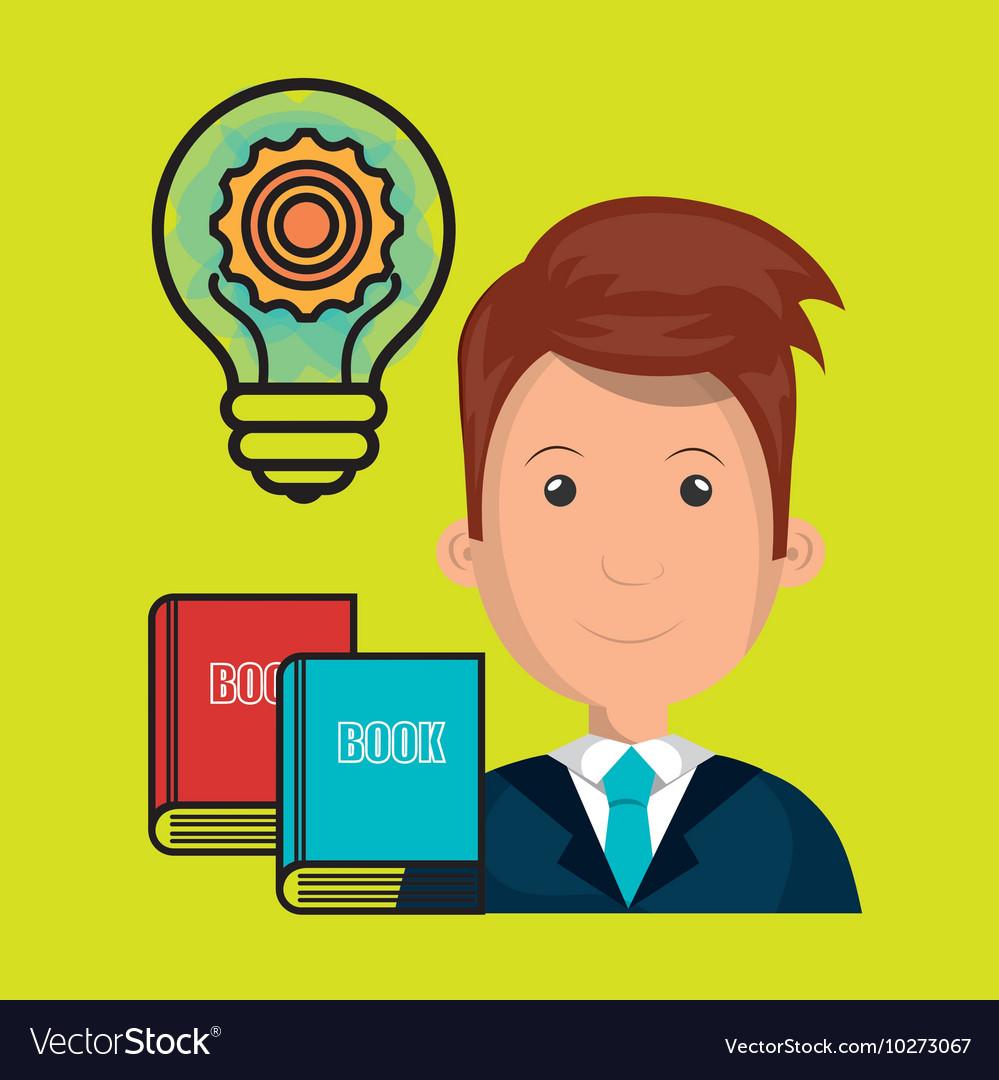 Man books idea icon