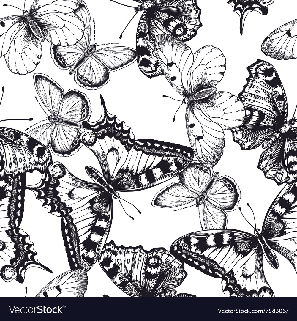 Seamless pattern with butterflies black and white