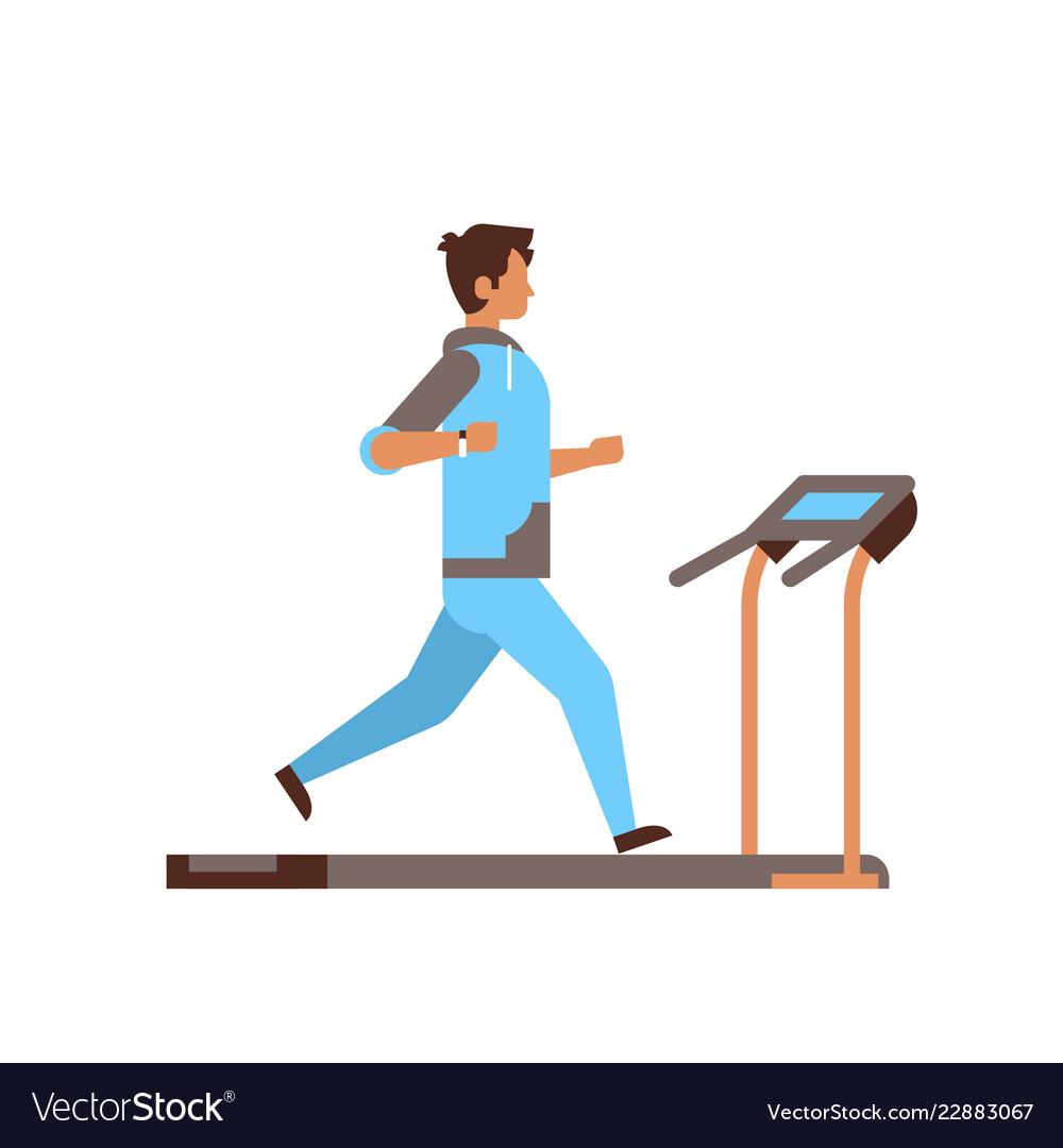 Sportsman running on treadmill guy cardio training