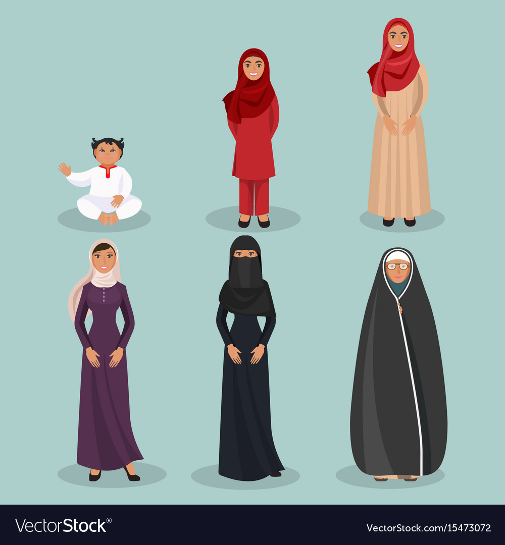 Arabic women generations from child to elderly