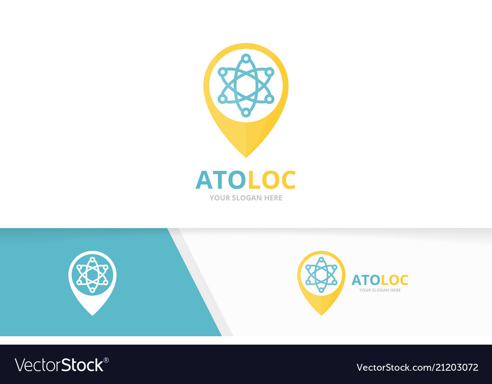 Atom and map pointer logo combination