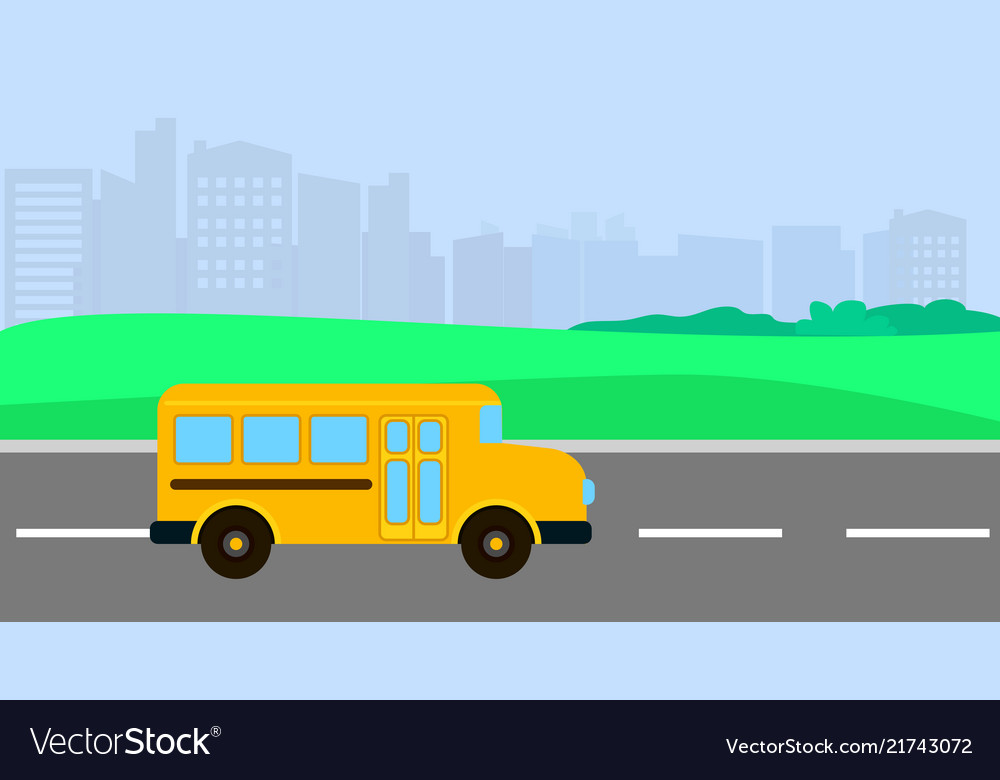 Bus driving to school background flat style