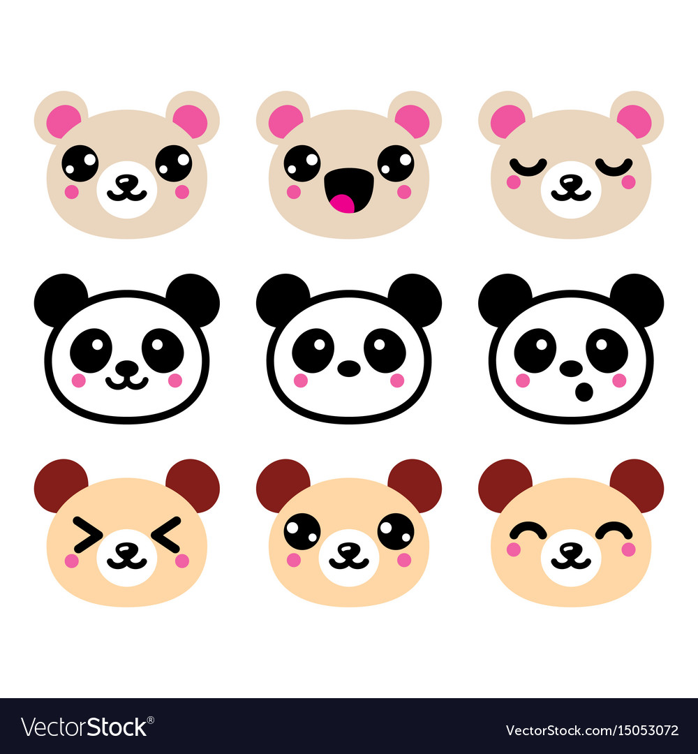 Cute kawaii bear icons set panda bear design