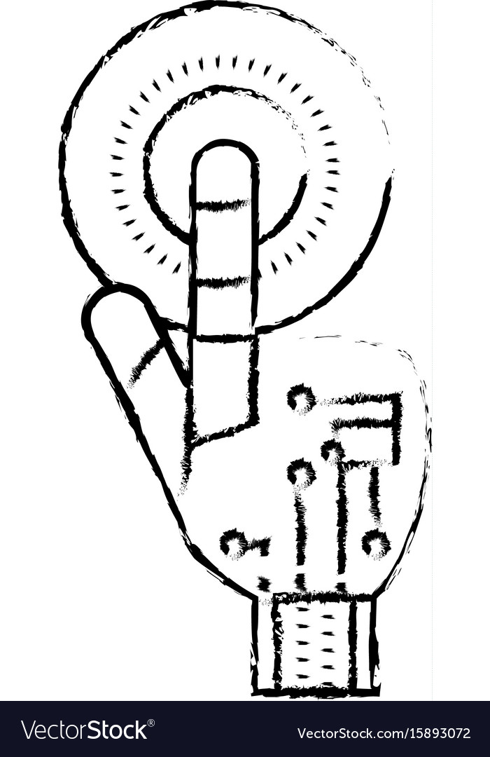Figure hand with finger touch and circuits digital