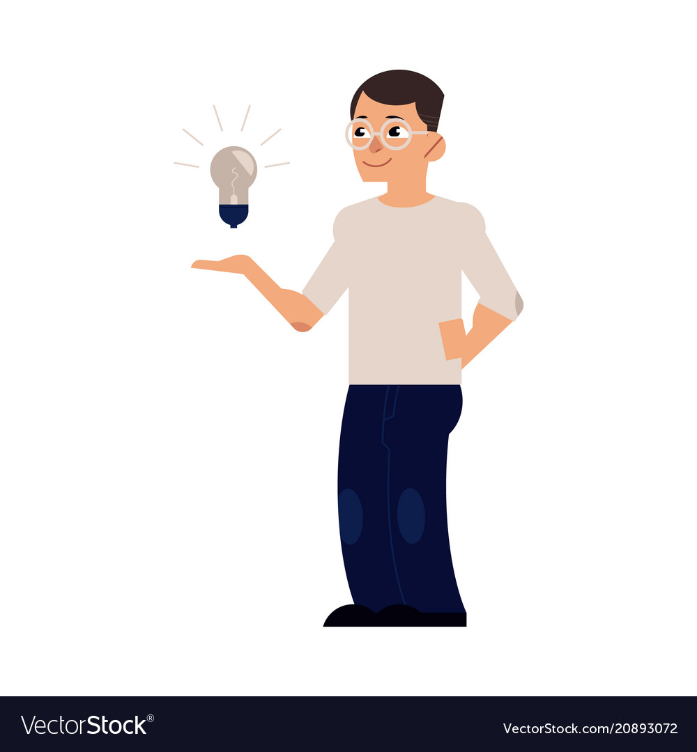 Flat man with light bulb