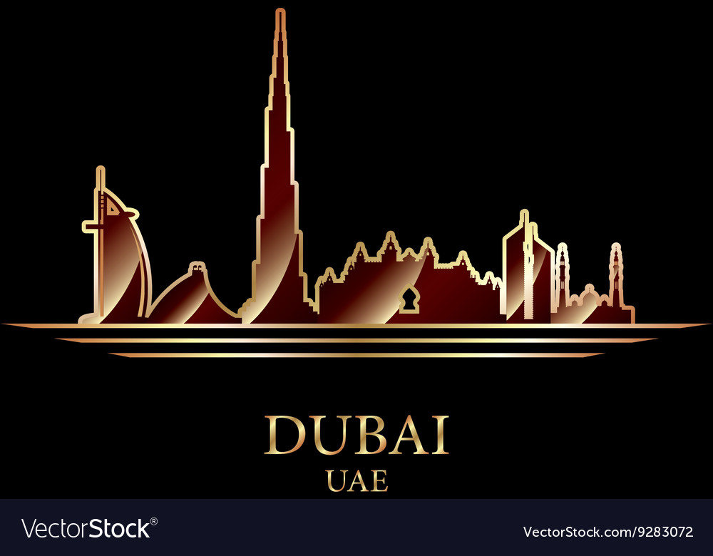Gold silhouette of Dubai on black background
