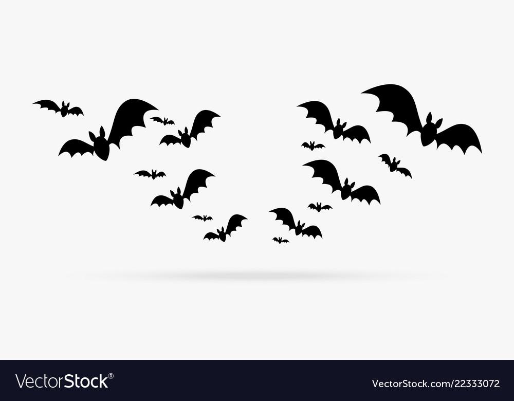 Happy halloween group of bats decoration element