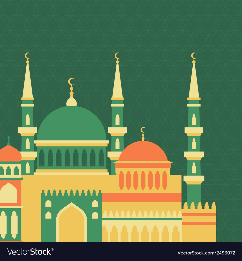 Islamic greeting card with mosque in flat design