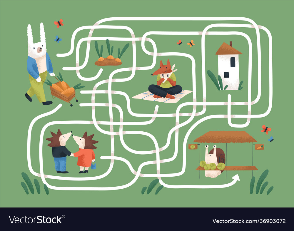 Kids maze game with cute animals in nature