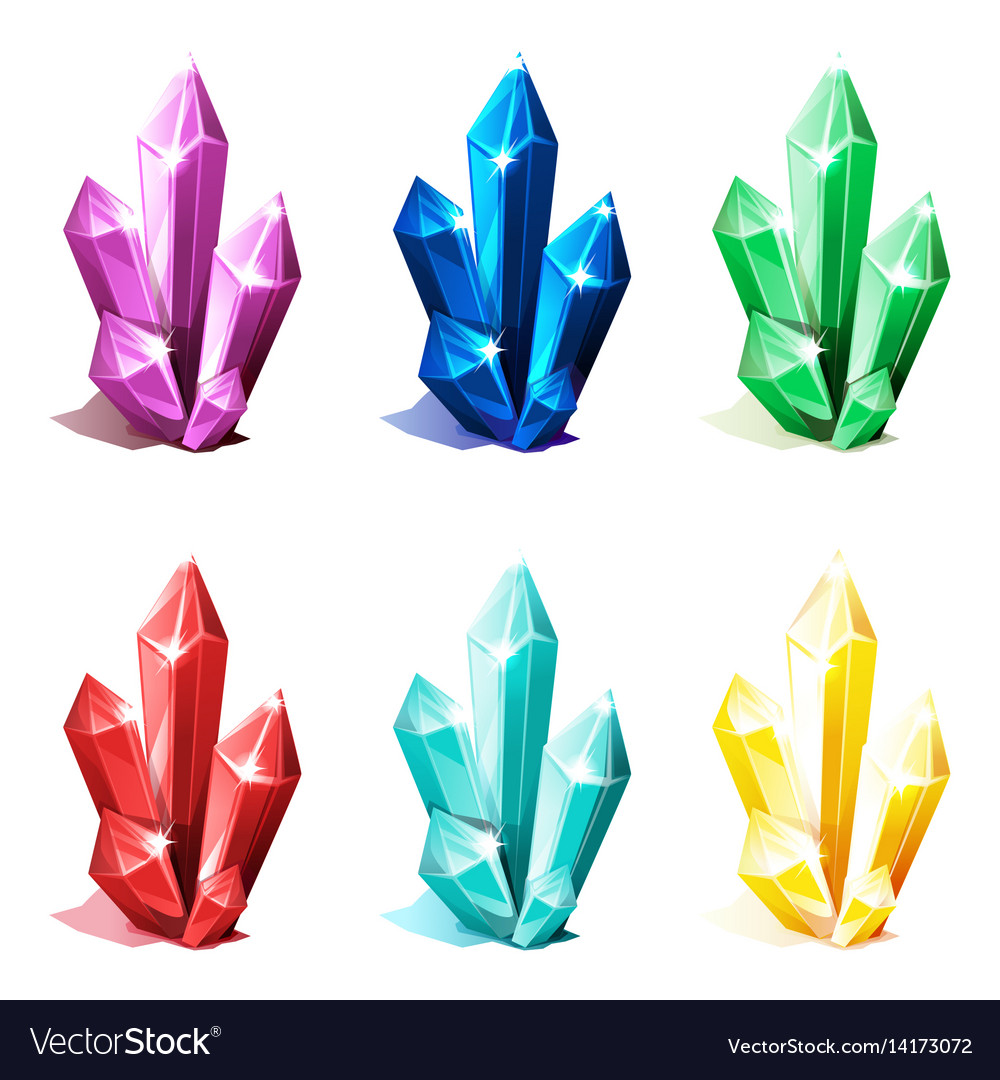 Magic multi colored cave crystals set for game vector image