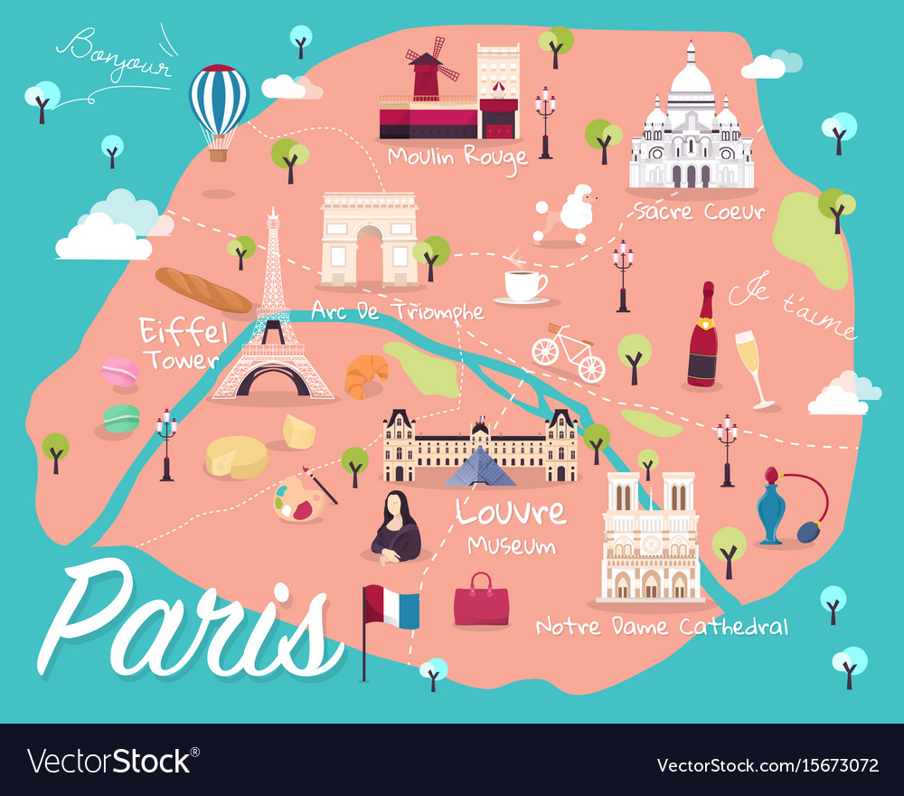 Map of paris Royalty Free Vector Image - VectorStock