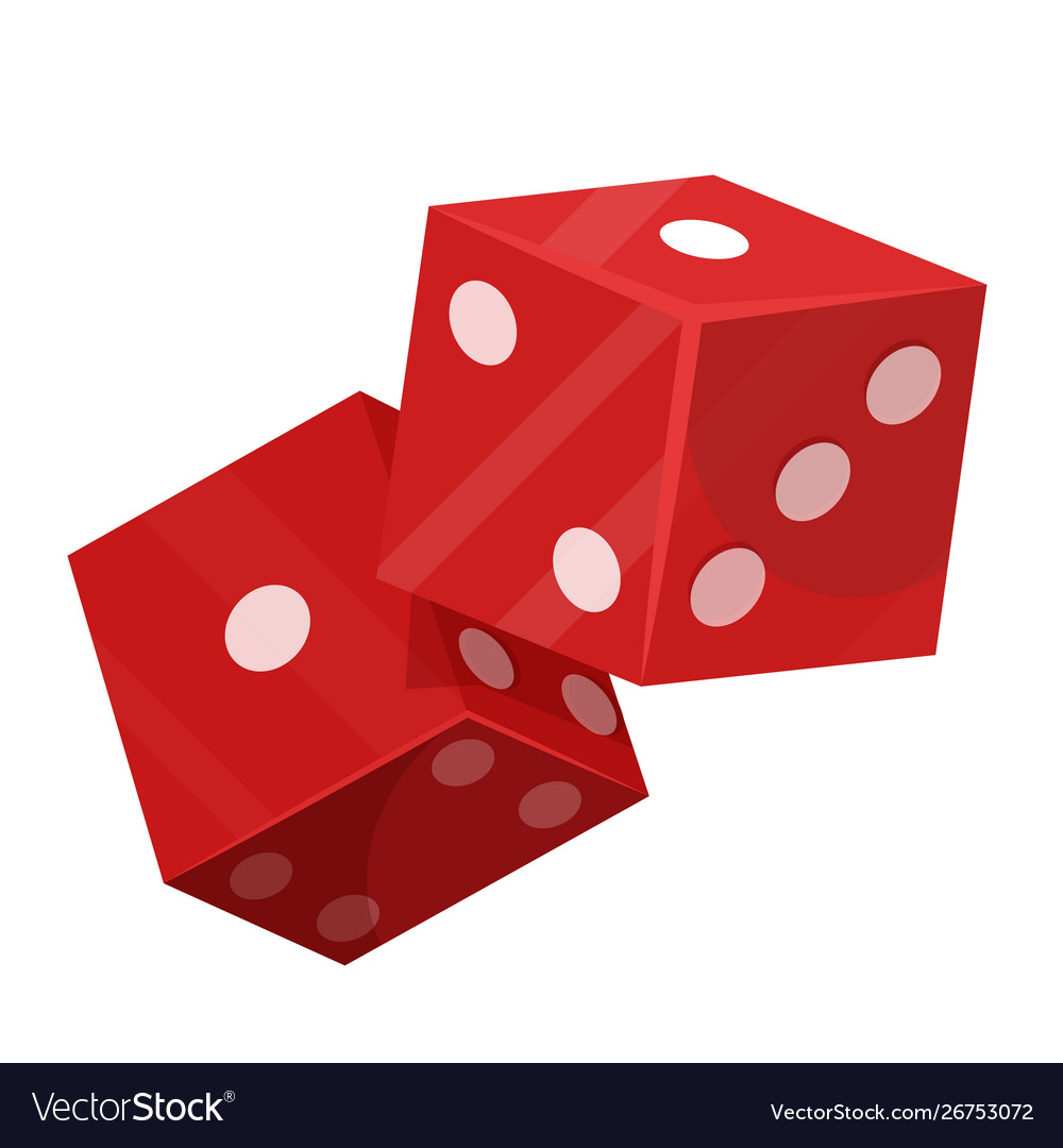 Rolling dice pair flat isolated