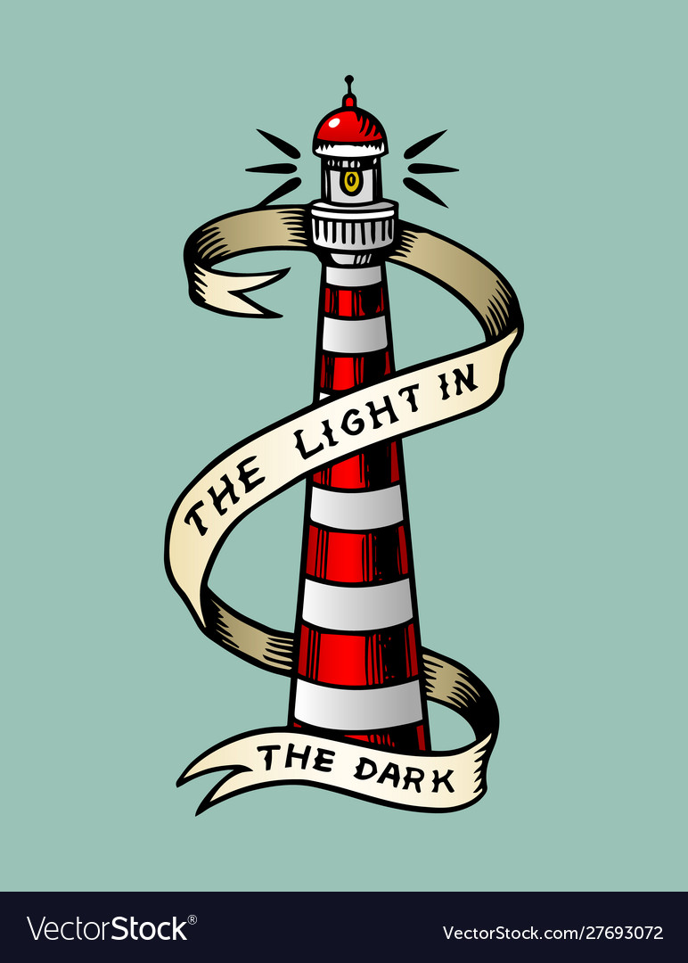 Sea lighthouse with a ribbon in vintage style