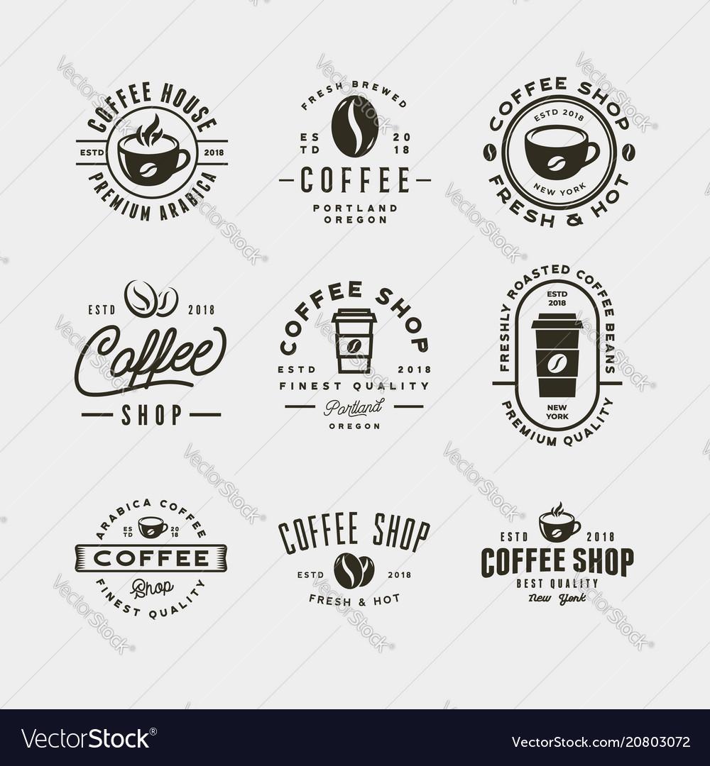 Set of modern vintage coffee shop labels