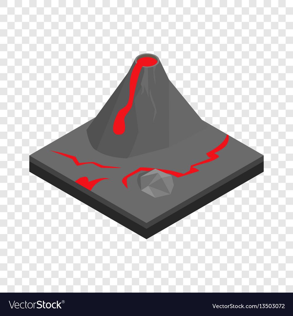 Volcano landscape isometric icon vector image