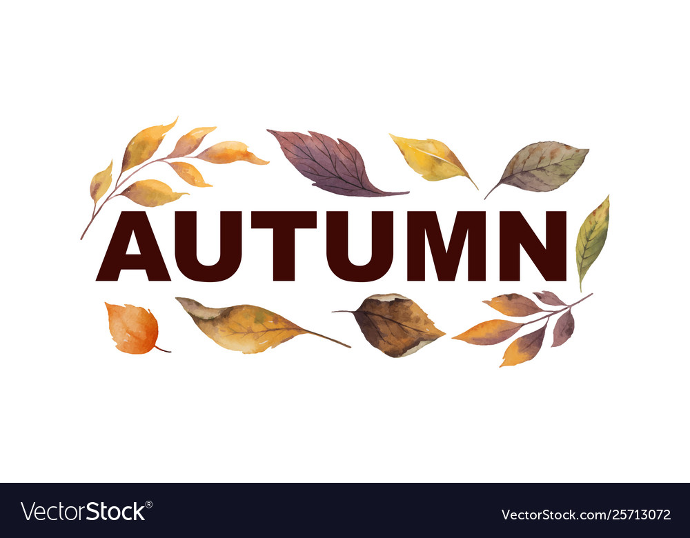 Watercolor banner with autumn leaves