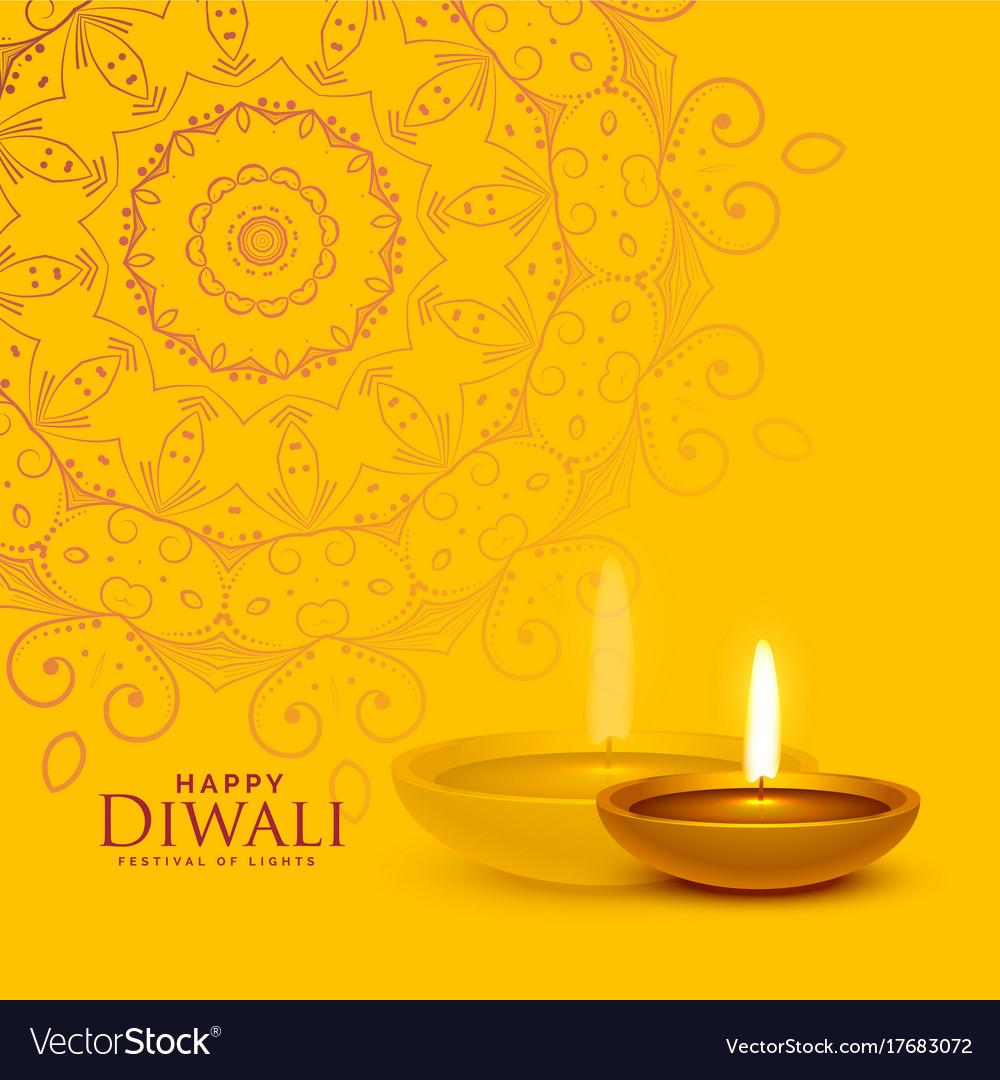 Yellow Festival Background With Diwali Diya Lamp
