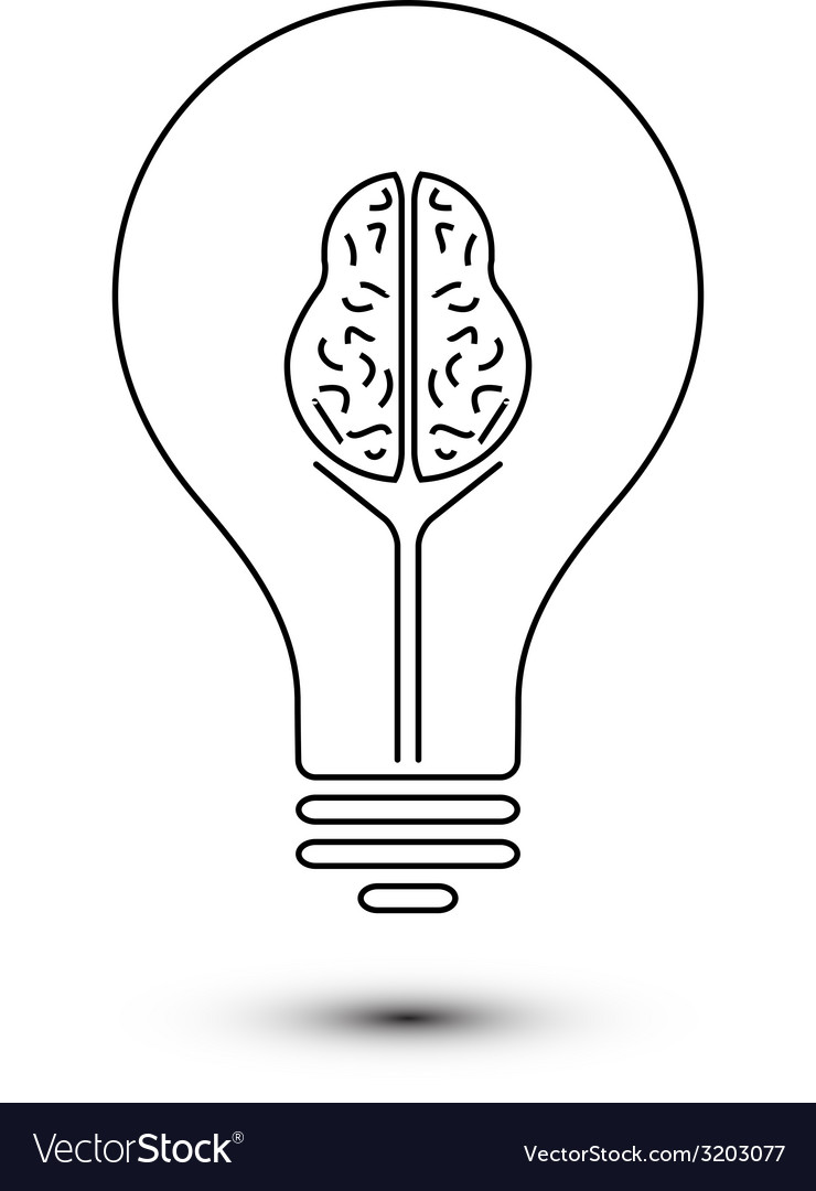 Abstract outline brain light bulb